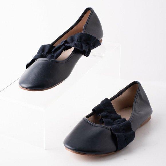 girls navy ballet pumps